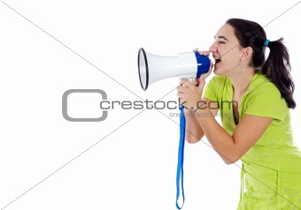 Adolescent with megaphone