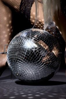 fishnet stockings and disco ball