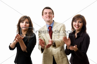 Clapping. Group of smiling businesspeople.