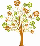 Blossoming decorative tree, vector