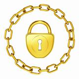 gold lock with chain isolated security illustration