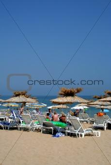 Crowded Black sea beach