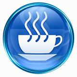 coffee cup icon blue, isolated on white background.