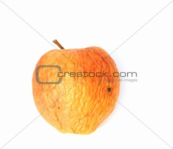 faded apple on white background