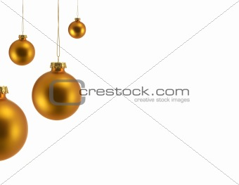 Four Gold Christmas Ornaments, All four are in Focus