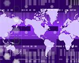 World map purple bars