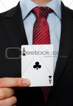 A businessman holding an black flowers ace
