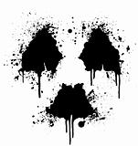 Radioactive symbol ink splatter