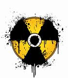 Nuclear symbol ink splatter yellow and black