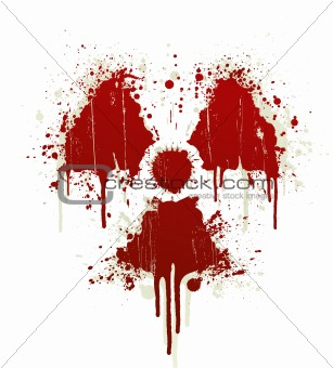 Radioactive symbol blood splatter