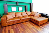 Leather brown sofa