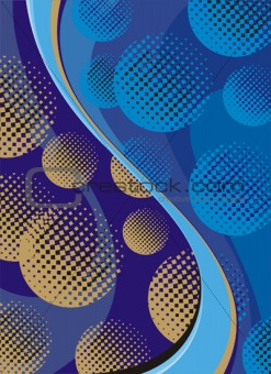 Abstract gold balls and blue waves background