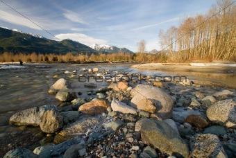 Skagit and Cascade Rivers, Bacon Peak, Man Fishing, Many Rocks
