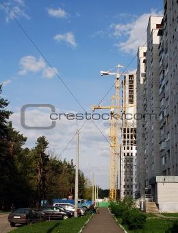 City landscape, building, lifting crane