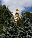 Gold dome of christian church.