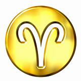 3D Golden Aries Zodiac Sign