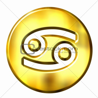 3D Golden Cancer Zodiac Sign