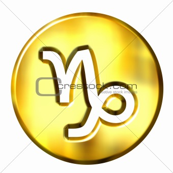 3D Golden Capricorn Zodiac Sign