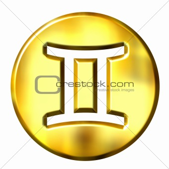 3D Golden Gemini Zodiac Sign