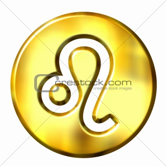 3D Golden Leo Zodiac Sign
