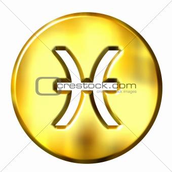 3D Golden Pisces Zodiac Sign
