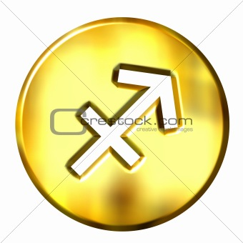 3D Golden Sagittarius Zodiac Sign