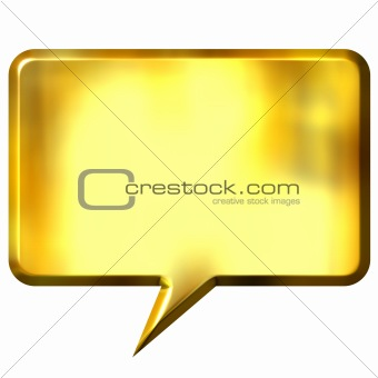 3D Golden Speech Bubble