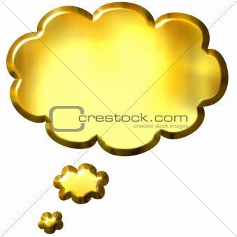 3D Golden Thought Bubble