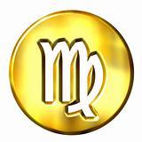 3D Golden Virgo Zodiac Sign