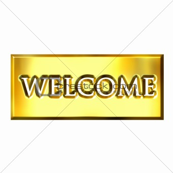 3D Golden Welcome Sign