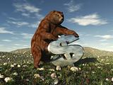 "A bear bearing down on a dollar sign signifying ""the bear market"""
