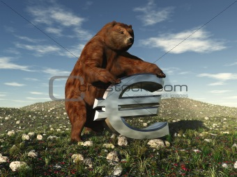 "A bear bearing down on a Euro sign signifying ""the bear market"""