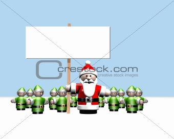 Santa holding a sign surrounded by all his little helpers at the North Pole.