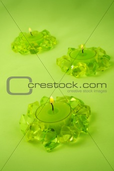 Three green candles