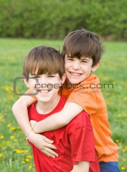 Boy Giving Ride on Back