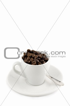 coffee cup with beans isolated on white with copy-space