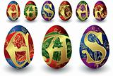 easter eggs with angel and  fonts