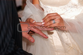Bride and groom exchanging rings on wedding day