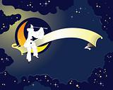 Pierrot sitting on the Moon