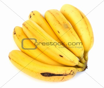 very ripe bananas on white backgound