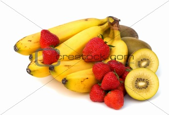 fruits assortment on white background