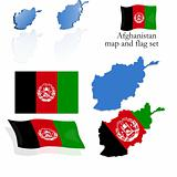 Afghanistan map and flag set
