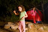two girls at a camp