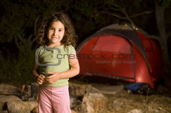 little girl at a camp