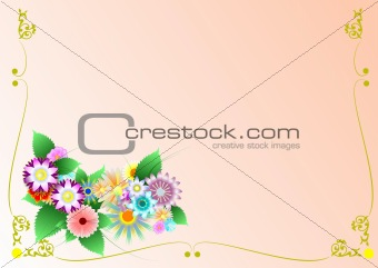 Greeting card with framed flowers