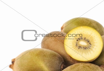yellow kiwi on white background