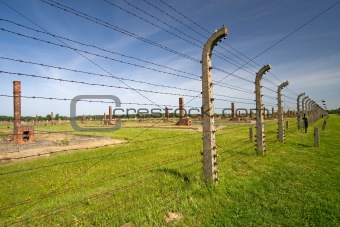 Barbed wire fence in Auschitz Birkenau