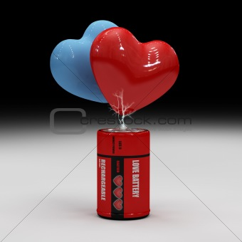 A rechargeable Love-battery for two tired hearts, the different color represents the different  sex