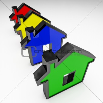 isolated plastic houses