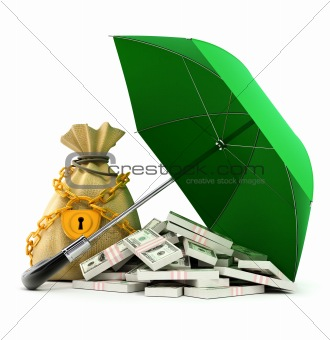 green umbrella protecting money from rain